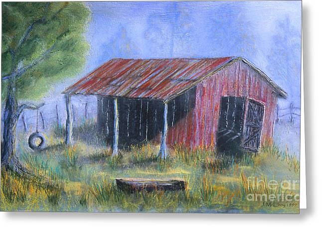 Red Roofed Barn Greeting Cards - By the Barn Out Back Greeting Card by Jerry McElroy
