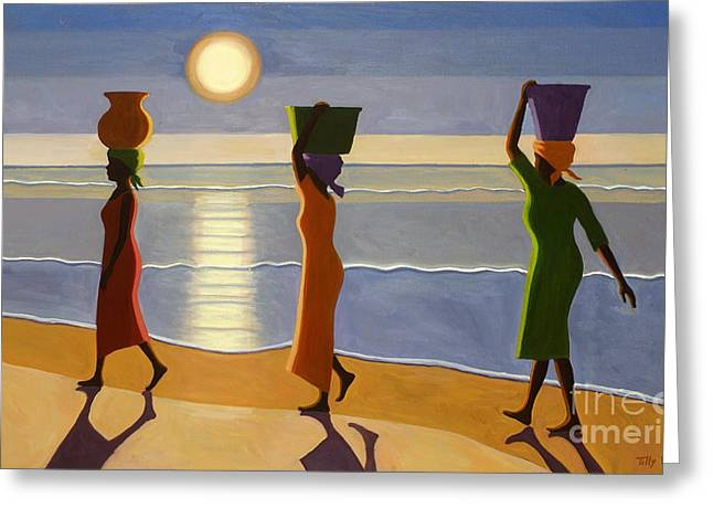 Black Top Greeting Cards - By The Beach Greeting Card by Tilly Willis