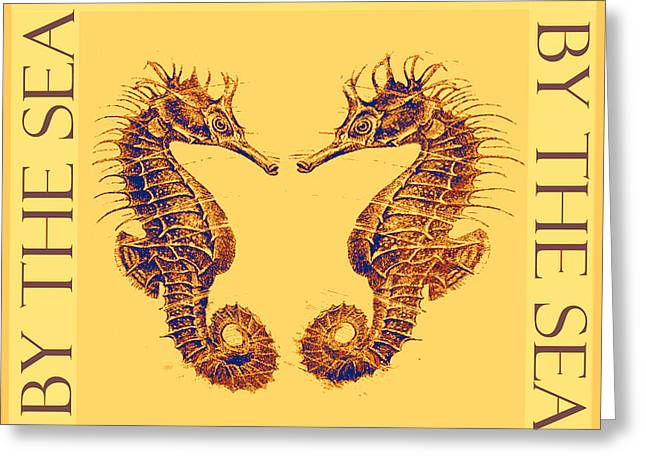 Sea Horse Greeting Cards - By the Beautiful Sea- gold Greeting Card by Jane Schnetlage