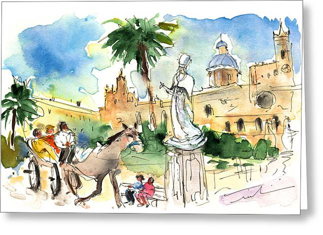Historic Statue Drawings Greeting Cards - By The Cathedral in Palermo Greeting Card by Miki De Goodaboom