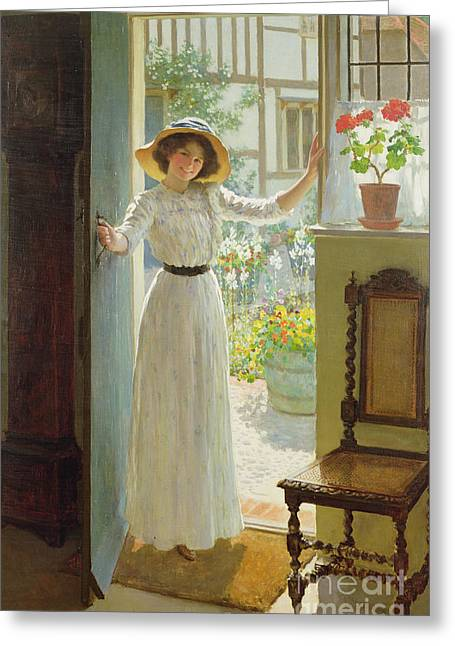 Entrance Door Greeting Cards - By the Cottage Door Greeting Card by William Henry Margetson