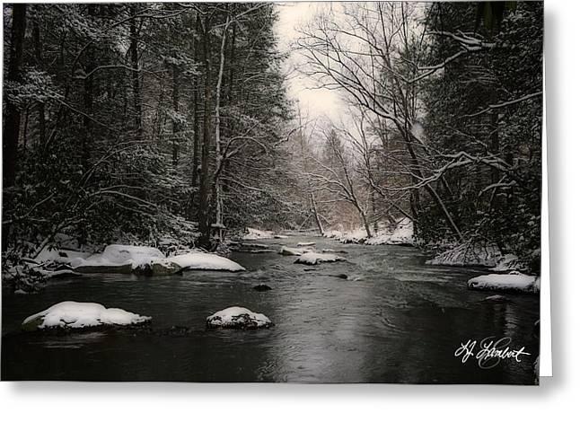 Vinter Greeting Cards - By The Creek Greeting Card by Lj Lambert