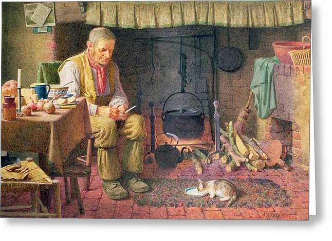 Stew Greeting Cards - By The Fireside Greeting Card by Henry Spernon Tozer
