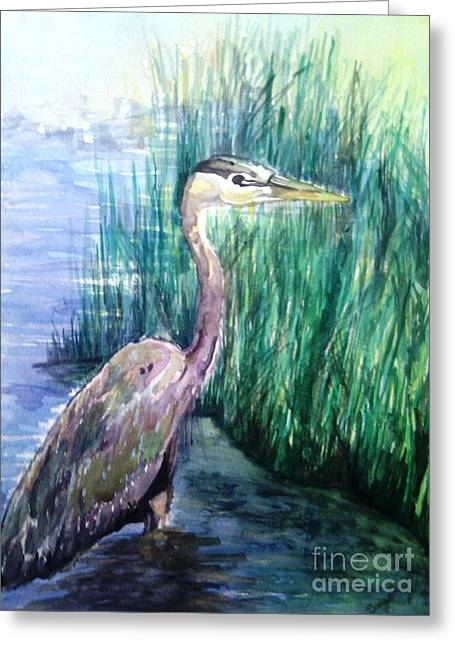 Wadding Greeting Cards - By the Swamp Greeting Card by Sawe Catherine