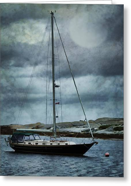 One Sailboat Greeting Cards - By the Light Greeting Card by Nikolyn McDonald