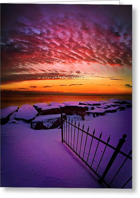 Fence Greeting Cards - By The Light of a New Day Greeting Card by Phil Koch