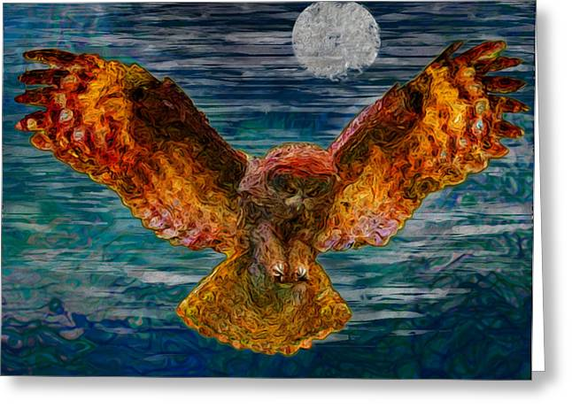 Strigidae Greeting Cards - By The Light Of The Moon Greeting Card by Jack Zulli