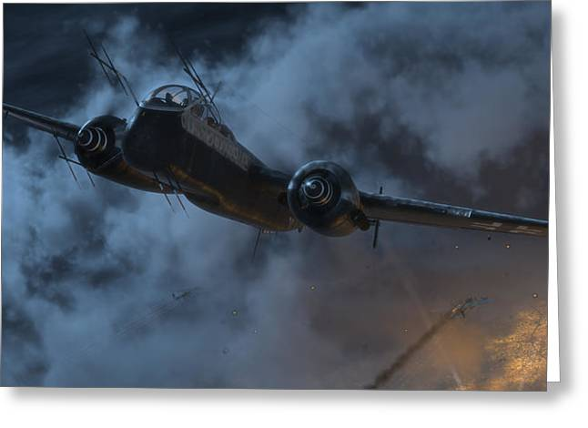 Wwi Digital Art Greeting Cards - By the Light of the Moon Greeting Card by Robert Perry