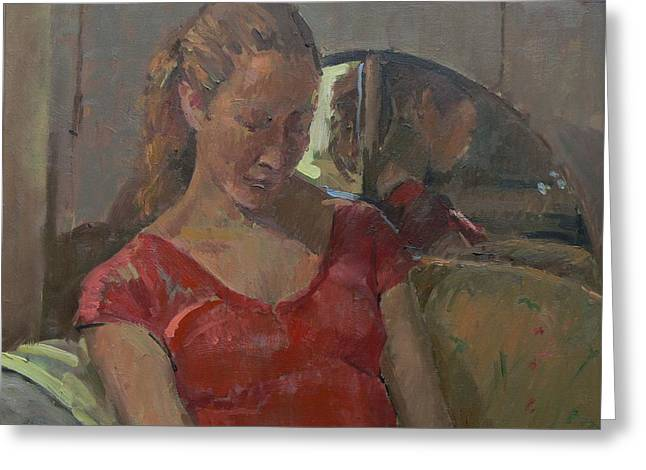 By The Old Mirror, 2009 Oil On Canvas Greeting Card by Pat Maclaurin