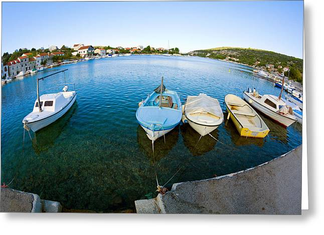 Port Town Greeting Cards - By the Pier Greeting Card by Alexey Stiop