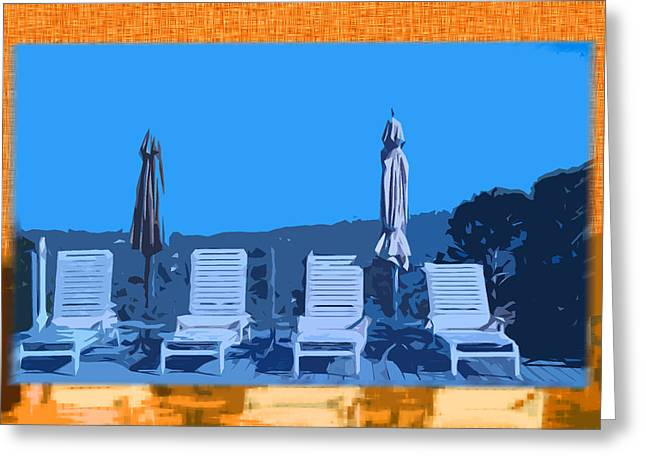 Chaise-lounge Digital Art Greeting Cards - By The Pool Greeting Card by Monzo Rock