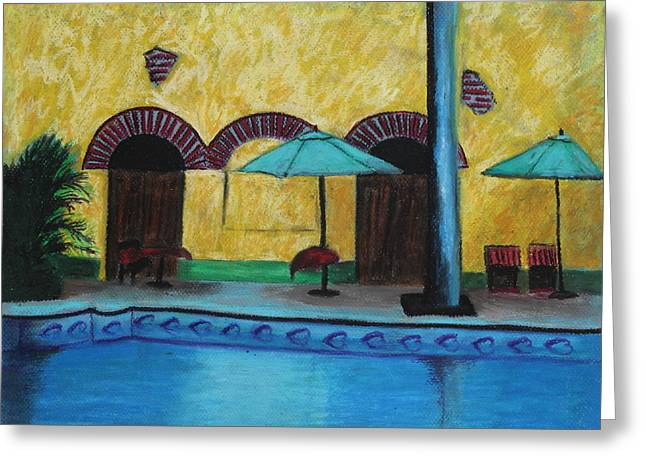 By The Poolside Greeting Card by Jeanne Fischer