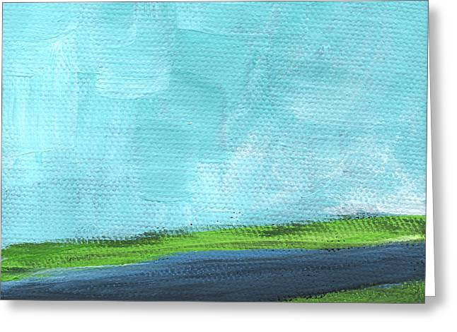 Blue Green Water Greeting Cards - By The River- abstract landscape painting Greeting Card by Linda Woods