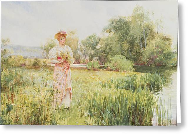 Picking Greeting Cards - By the River Greeting Card by Alfred I Glendening