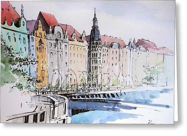 Prague Paintings Greeting Cards - By the river Greeting Card by Igal Kogan