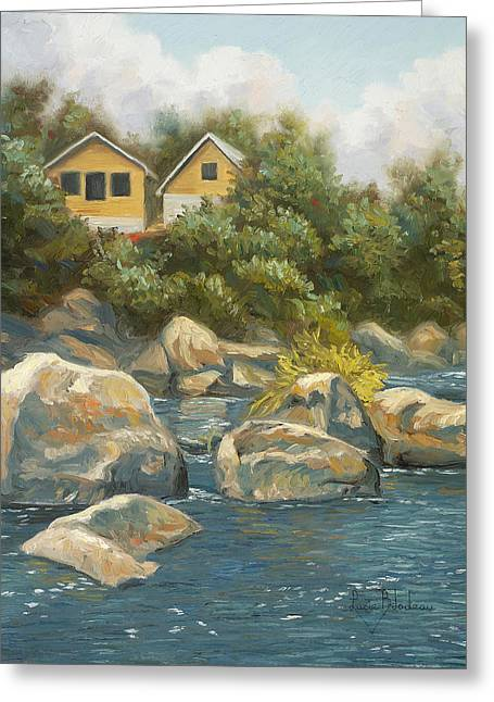 Canadian Nature Scenery Greeting Cards - By The River Greeting Card by Lucie Bilodeau