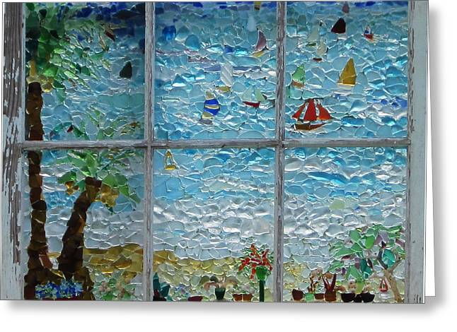 Sailboat Glass Art Greeting Cards - By The Sea Greeting Card by Anne Marie Brown