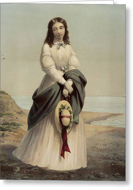 Problem Greeting Cards - By the sea shore circa 1868 Greeting Card by Aged Pixel