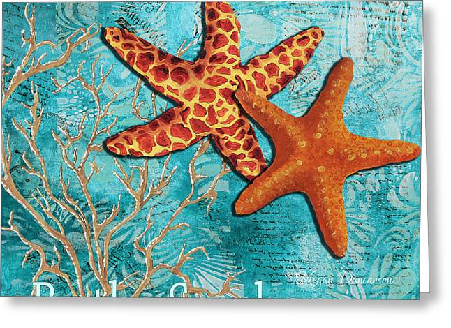 Licensor Greeting Cards - By the Sea Shore Original Coastal Painting Colorful Starfish Art by Megan Duncanson Greeting Card by Megan Duncanson
