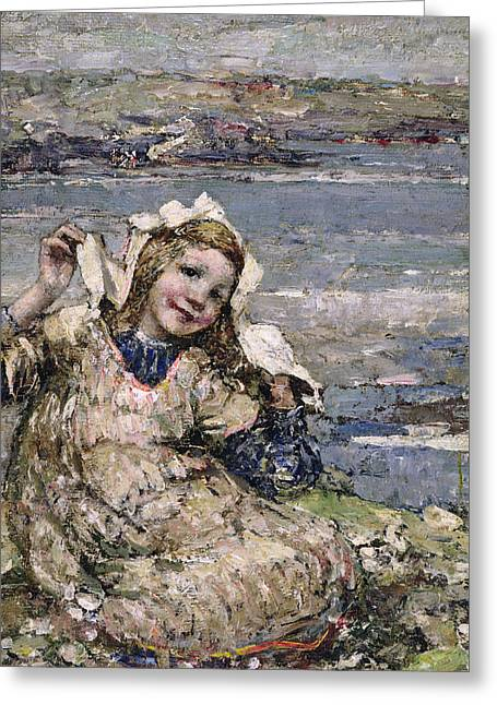 Apron Greeting Cards - By the Seaside Greeting Card by Edward Atkinson Hornel