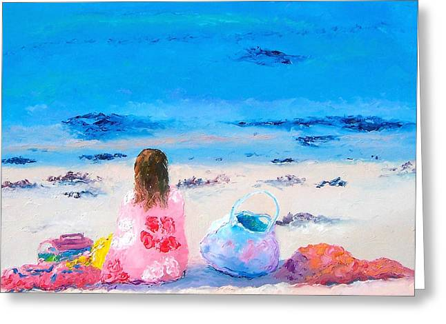 Beach Towel Greeting Cards - By the seaside Greeting Card by Jan Matson