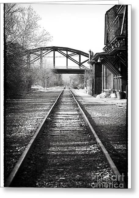 Black And White Train Track Prints Greeting Cards - By the Station Greeting Card by John Rizzuto