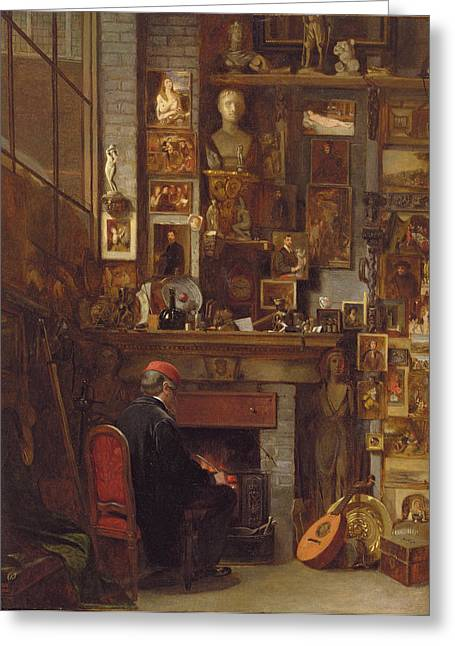 Cluttered Greeting Cards - By The Studio Fire, 1860 Greeting Card by John Dawson Watson