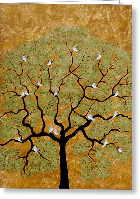 Flocks Of Birds Paintings Greeting Cards - By the tree re-painted Greeting Card by Sumit Mehndiratta
