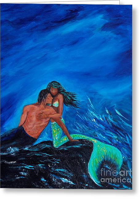 Picture Of Mermaids Greeting Cards - By Your Side Greeting Card by Leslie Allen