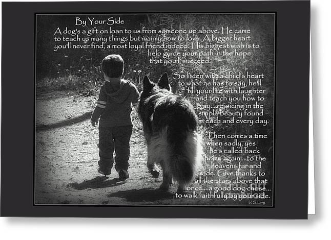 Recently Sold -  - Best Friend Greeting Cards - By Your Side Paw Print Greeting Card by Sue Long