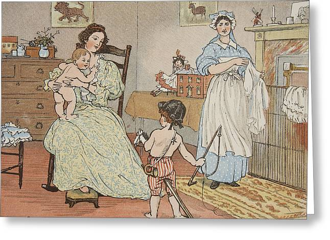 Dressing Up Greeting Cards - Bye Baby Bunting Greeting Card by Rnadolph Caldecott