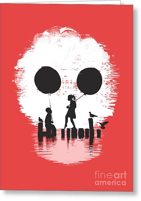 Balloons Greeting Cards - Bye Bye Apocalypse red Greeting Card by Budi Satria Kwan