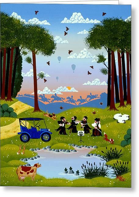 Quartet Greeting Cards - Bye Bye Quiet Greeting Card by Merry  Kohn Buvia