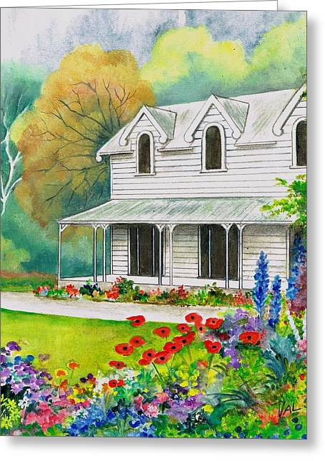 Clapboard House Paintings Greeting Cards - Bygone Days Greeting Card by Val Stokes
