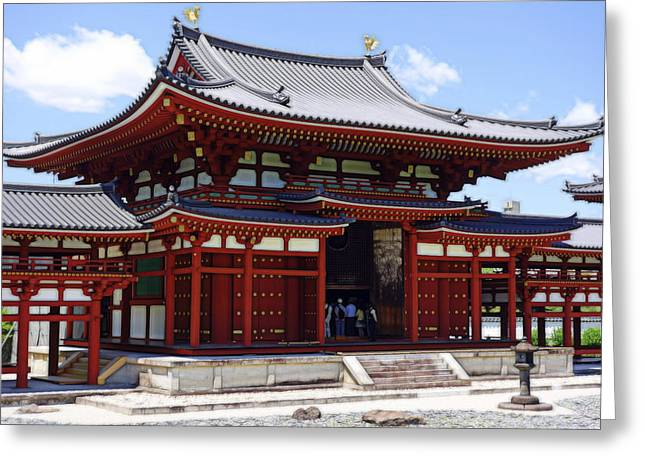 Reflection In Water Mixed Media Greeting Cards - Byodo-in Temple Central Hall - Japan Greeting Card by Daniel Hagerman