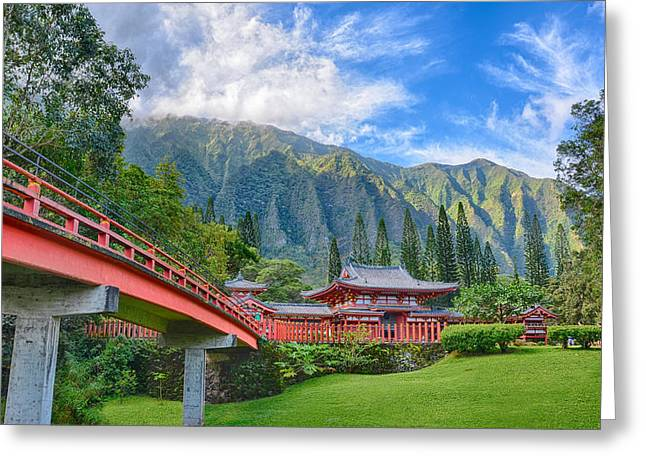 Waimea Valley Greeting Cards - Byodo-in Temple In The Valley Of The Temples Greeting Card by Tin Lung Chao