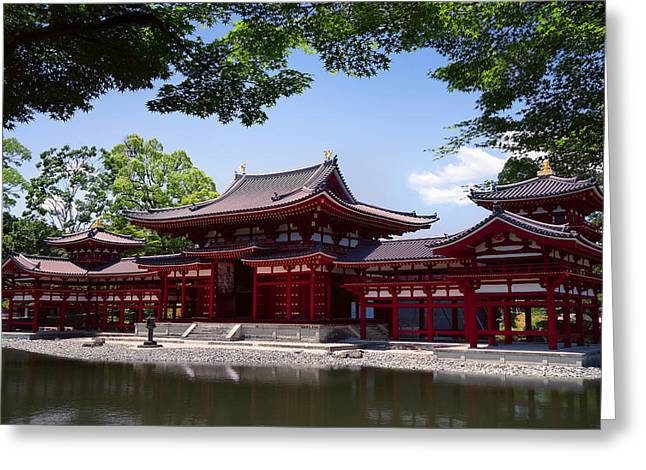 Shogun Photographs Greeting Cards - Byodoin Temple - Kyoto Japan Greeting Card by Daniel Hagerman