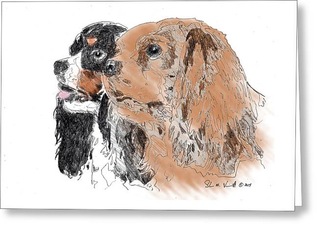 Spaniel Mixed Media Greeting Cards - Byrne Greeting Card by Shawn Vincelette