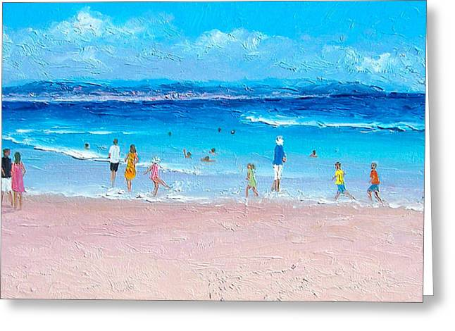 People On Beach Greeting Cards - Byron Bay Afternoon Greeting Card by Jan Matson