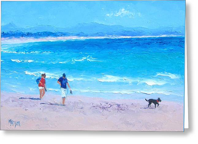 Dog Beach Print Greeting Cards - Byron Bay Greeting Card by Jan Matson