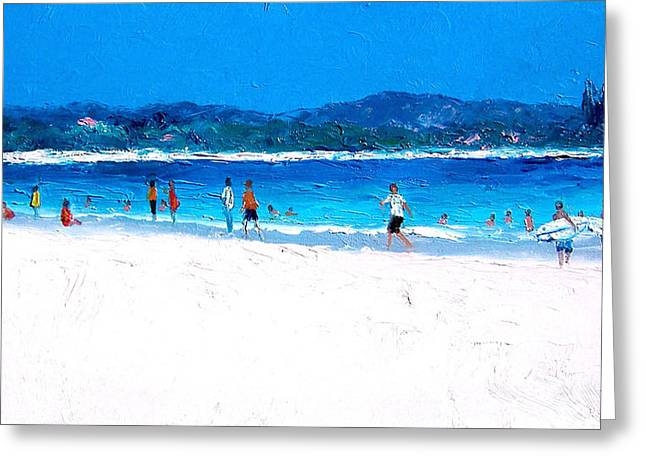 Byron Greeting Cards - Byron Bay Surfers Greeting Card by Jan Matson