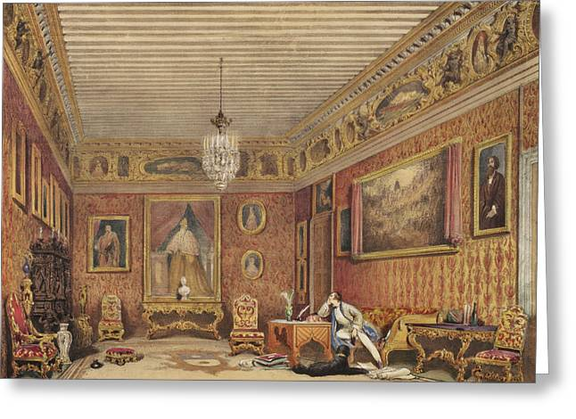 Desk Drawings Greeting Cards - Byrons Room In Palazzo Mocenigo, Venice Greeting Card by English School