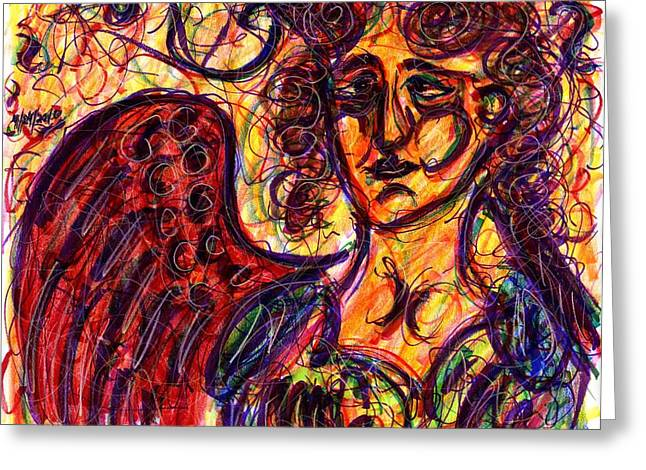 Byzantine Angel Greeting Card by Rachel Scott