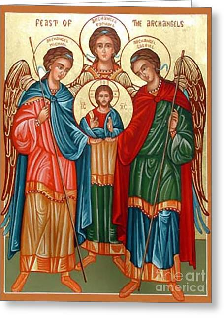 Icon Byzantine Greeting Cards - Byzantine Archangels Greeting Card by Matteo TOTARO
