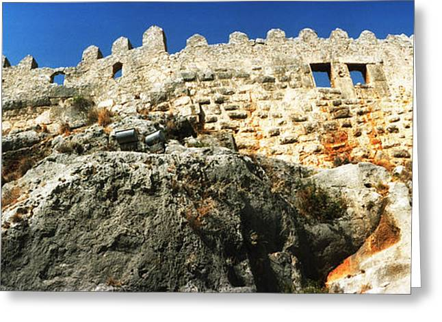 Fortified Wall Greeting Cards - Byzantine Castle Of Kalekoy, Antalya Greeting Card by Panoramic Images