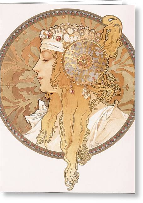 Nose Drawings Greeting Cards - Byzantine head of a blond maiden Greeting Card by Alphonse Marie Mucha