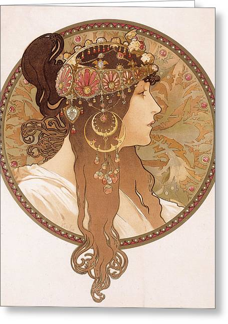 Nose Drawings Greeting Cards - Byzantine head of a brunette Greeting Card by Alphonse Marie Mucha