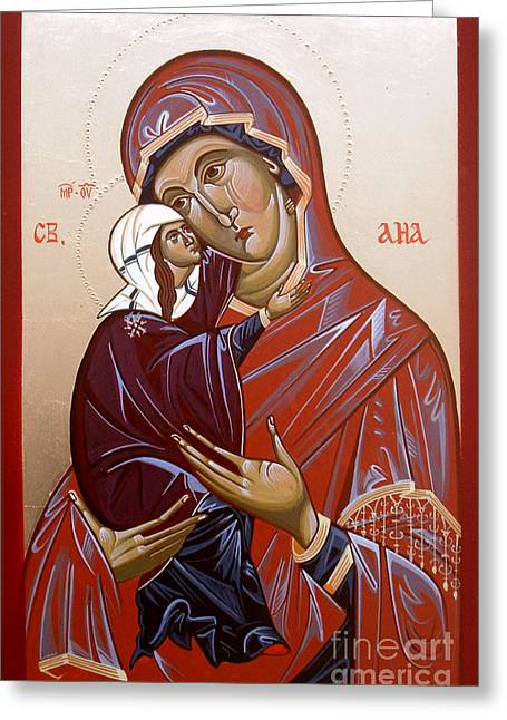 Byzantine Drawings Greeting Cards - Byzantine icon ST ANA Greeting Card by Sasho  Blazheski