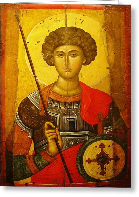 Best Sellers -  - Byzantine Greeting Cards - Byzantine Knight Greeting Card by Ellen Henneke