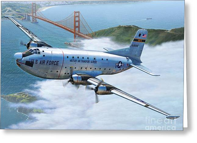 Mat Greeting Cards - C-124 Shakey Over the Golden Gate Greeting Card by Stu Shepherd